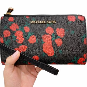 Michael Kors Jet Set Double Zip Wristlet Phone Wallet Black MK Signature Red Rose