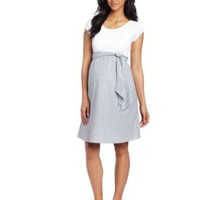 Maternal America Women's Maternity Scoop Neck Front Tie Dress, White/Navy Seersucker, Medium
