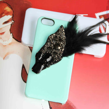 attractive feather diamond fation protective case for iPhone 5 iPhone 4 iPhone 4s phone case friendship love gifts vouge summer trending