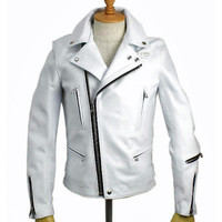 Mens Leather Jacket Moto Style Smooth Nappa Sheepskin Celebrity Style