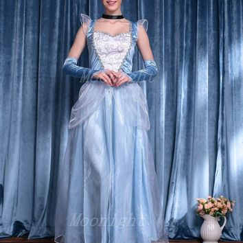 Adult Cinderella Costumes Deluxe Light Blue A-Line Cinderela Cosplay Shiny Gown Cinderella Dress Cosplay Costume