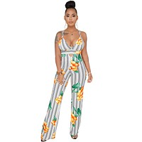 FLOWERS & STRIPES FITTED RIGHT JUMPSUIT