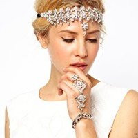 ASOS PREMIUM Waterfall Headband & Hand Harness at asos.com