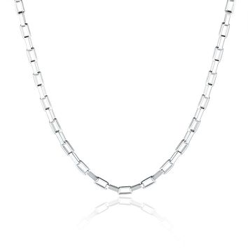 18K White Gold Plated  Mariner Chain Necklace