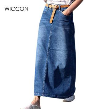 Autumn winter fashion women long denim skirt casual jeans jupe maxi skirts blue color vintage jeans ankle length skirts WICCON