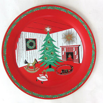 "1960's Mid Century Vintage 19"" Large Metal Tin Retro Christmas Tree Holiday decor Round Serving Snack Tray Platter Living Room Louanne's"