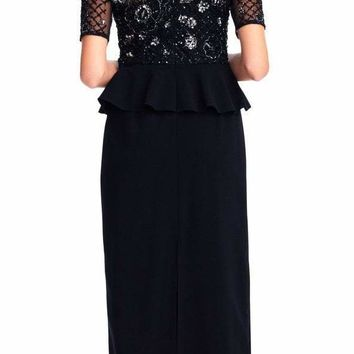 Adrianna Papell - AP1E202890 Embellished Short Sleeves Peplum Gown