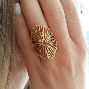 Unique cocktail gold ring, gold diamond ring, Large statement ring, nature ocean inspired gold ring, gold women fashion ring small diamonds