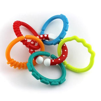 6Pcs New Baby Toys Rainbow Circle Chain Kids Molars Clutch Ring Teether Teething Toys Baby Bed Hanging Accessories Gift