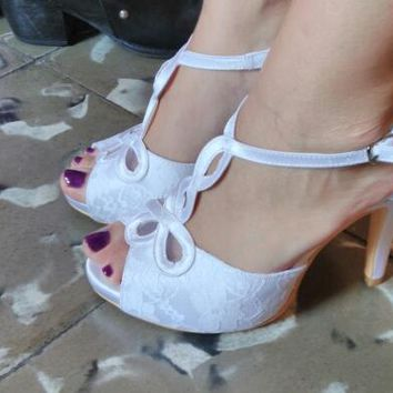 Wedopus T-Strap Summer Platform Women Sandals High Heels White Bridal Wedding Shoes Small Size