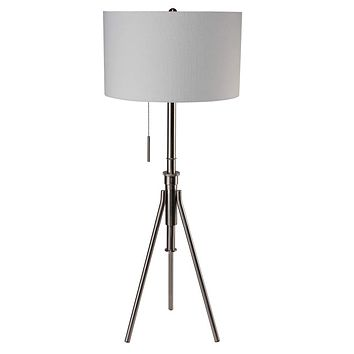 Metal Tripod  Floor Lamp With White Fabric Shade In Silver