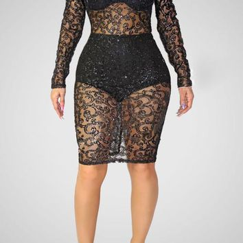 Mesh Hollow Out See Through Bodycon Sequin Midi Tunic Dresses