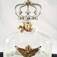 Hand Designed Decorative Bottle With Crown, Rhinestone, Hearts And Angel Accents, Home Decor, Vanity, OOAK, Vintage Jewelry
