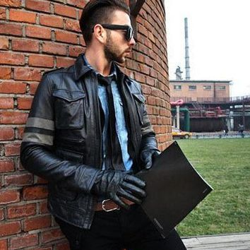 Factory 2016 New Resident Evil M65 Slim First Layer Of Leather Men's Safari Style Leather Jacket Motorcycle Jacket jaqueta couro