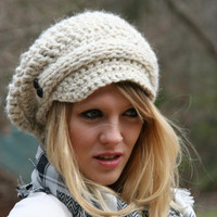 Newsboy Slouchy Hat Hand Crocheted - With Knitted Front Strap and Two Buttons On Each Side- Wheat White