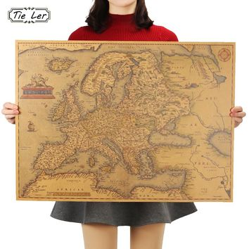 TIE LER 1570 Years Old Europe Map Poster Classic Vintage Retro Paper Craft for Home Decoration Living Room Bar Pub 69X51cm