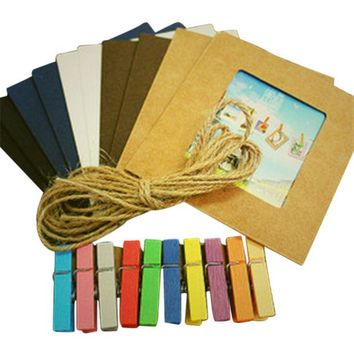 ac NOOW2 New Sale Creative Gift Home Decoration 10pcs/lot DIY  Wall Hanging Paper Photo Frame Wall Picture Album + Rope +wooden clip
