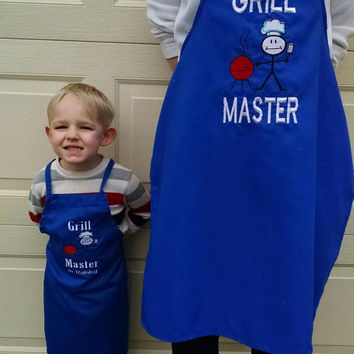 Father/Mother and Son/Daughter Matching BBQ Apron - Embroidered and Personalized Apron