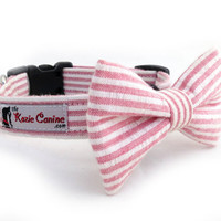 Dog Collar - Seersucker Dog Collar (Pink & White Striped Dog - Matching Bow Tie Available Separately)