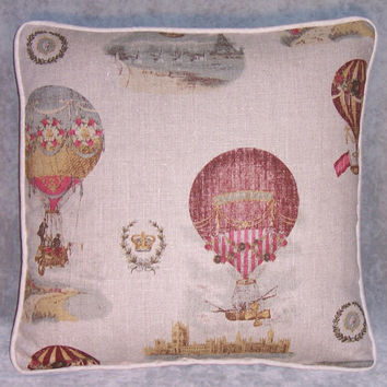 "Hot Air Balloon Throw Pillow 17"" Square Insert Included Ready Ship Natural Linen Vintage Look French Decor Victorian Steampunk Cushion"