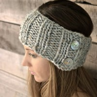 Ear warmers with buttons in Grey Marble