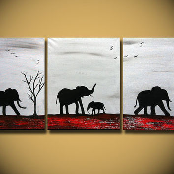Original Painting Large Abstract Elephants Family Silhouette African Tree and Birds Modern Contemporary fine art  Savanna Landscape Canvas
