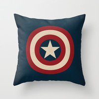 Captain America Logo Minimalist Art Print Marvel Comics Throw Pillow by The Retro Inc