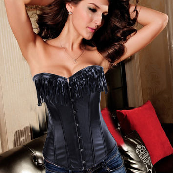 Black Leather Fringe Corset with Front Button