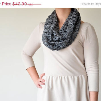 ON SALE Grey, Broomstick Lace Crochet, Infinity Scarf, For Every Season, Mother's Day Gift
