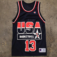 Shaquille O'Neal USA Dream Team I Champion Basketball Jersey Navy (Size 36 / Small)