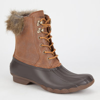 Sperry White Water Womens Duck Boots Brown Combo  In Sizes