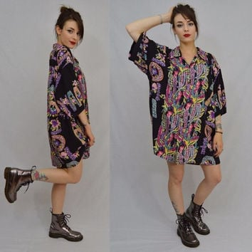 90s Hawaiian Shirt Dress XXL Soft Grunge Hippie Tropical Floral Black Aloha Oversize Shirt Face Men Women Vintage Clothing RARE reyn spooner