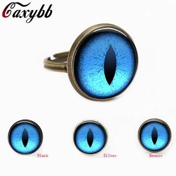 Vintage blue Dragon eye charm blue Cat eye glass dome cabochon gift for send friend adjustable rings handmade 100%
