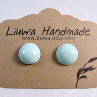 Post Earrings Cool Mint Clay Dot Earrings Surgical by Liuwa