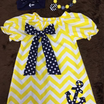 Nautical Sailor Dress, Anchor, Girls Chevron Dress WITH Chunky Necklace and headwrap/head band!
