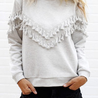 Plain Fringed Sweater