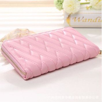 LMFHT3 Solid color embroidery soft long zipper fashion purse female