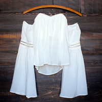 ivory off the shoulder boho top