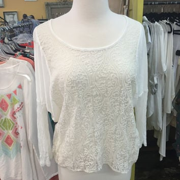 Embroirdered Front Dolman Sleeve Top