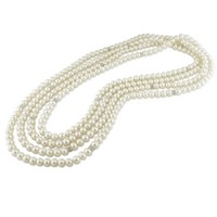 Sterling-Silver 6-6.5 MM White Freshwater Cultured Pearl Endless Pearl Strand, 72""