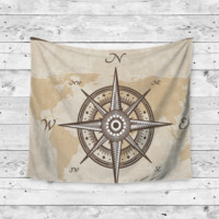 """Compass Life"" North East South West Wall Tapestry"