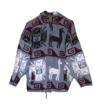 Vintage Alpaca and Sun Print Sweater Hooded Jacket - Thick & Warm Alpaca Wool with Drawstring Bottom