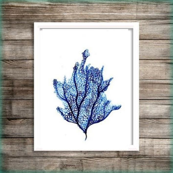 Seafan Blue watercolor painting wall art print beach seaweed grass fan poster decor bathroom decal print sea poster large & small aqua blue
