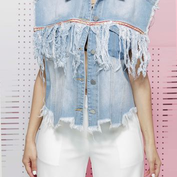 COMING OUT SWINGING FRINGE DENIM VEST