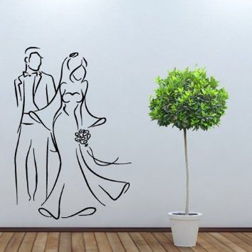 Wall Decal Vinyl Art Decor Sticker Design Wedding Salon Shop Newlyweds Clothing Sale Signboard Costume Dress (M1059)