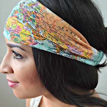 World Map Stretchy headwrap, headband, Spotted head wrap