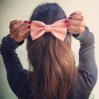 Peach Pink BIG bow - women hair bow - classic hair bow - elegant big hair bow