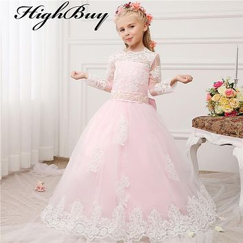 HighBuy New Pink Flower Girl Dresses White Lace Long Sleeves Princess Dress Ball Gown Floor Length Girls First Communion Dress