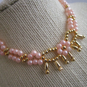 Beaded Choker - pink gold bead choker - choker jewelry - necklace jewelry - beaded chokers jewelry - flower beads chokers - necklace chokers