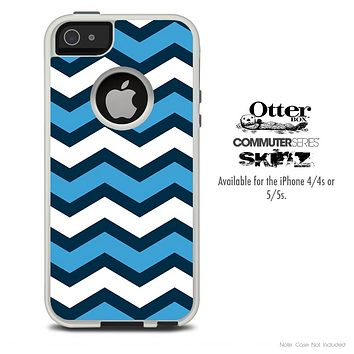 The Chevron Blue Pattern Skin For The iPhone 4-4s or 5-5s Otterbox Commuter Case